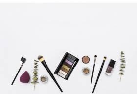 美容美容产品收藏白色背景上有毛笔和树枝_4441190