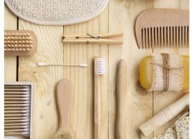 带有木制护理产品的俯视布置_5263309