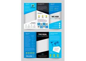 蓝色宣传单透明设计配有商业信息世界地图_4027739