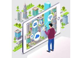智慧城市具有住宅智能城市基础设施的城域_2238477