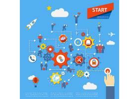 开始业务流程图信息图矢量插图_10703143