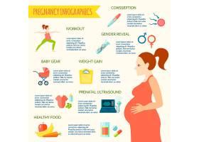 妊娠信息图集与准备婴儿符号平面矢量插图_4430817