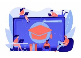 学生们手持笔记本电脑学习戴着毕业帽的巨_12085867