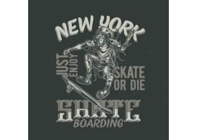 T恤或海报设计印有滑板上男子的插图手_13082500