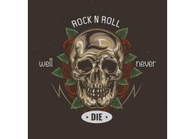以骷髅和鲜花为背景的T恤或海报设计_13082573
