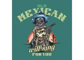 带有墨西哥音乐家插图的T恤或海报设计_13082547