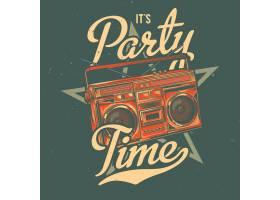 带有老式音响插图的T恤或海报设计_13082510