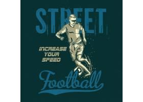 带有足球运动员插图的T恤或海报设计_13082532