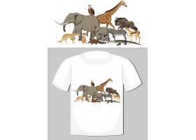 野生动物群体T恤设计_12321432