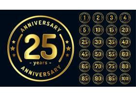 金色圆形周年纪念徽章或标签_10136726
