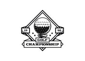 详细的复古高尔夫徽标模板_12295600