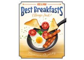 餐厅早餐广告复古海报_3998765