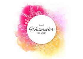 水彩画飞溅和手绘花卉相框_2400622