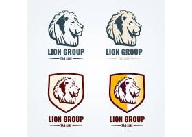 复古狮子标识向量集LOGO动物狮子狮头徽_11059548