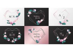 婚礼徽标收藏玫瑰金心框水彩式花卉装饰_8337871