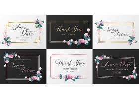 婚礼徽标收藏用于邀请卡设计的水彩花框_8337869