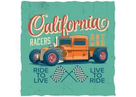 加州赛车手海报t恤和贺卡设计_11243643