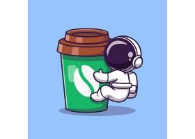 可爱的宇航员配咖啡杯卡通矢量图标插图太_10411788