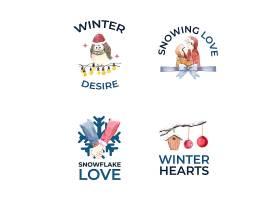 品牌营销和图标水彩矢量插图的冬季爱情理_11172924