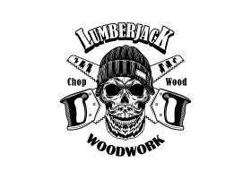 伐木工人矢量插图头戴豆帽的骷髅头横锯_11543022