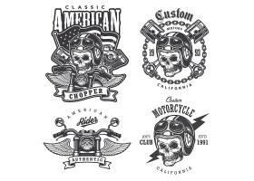 一套复古摩托车T恤印花徽章标签徽章_9648356