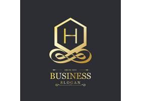 优雅的带有字母h的金色标志_952165