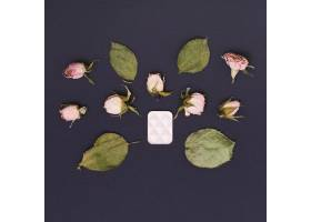 干燥的绿叶和粉红色的玫瑰花蕾黑色背景上_4030069
