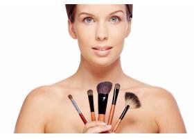 拿着化妆刷的女人_867827