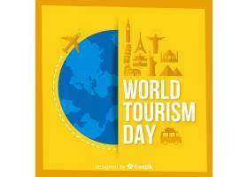 以平面设计的世界和纪念碑为背景的旅游日_2905577