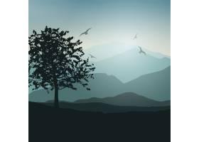 以树木和鸟类为背景的景观_840867