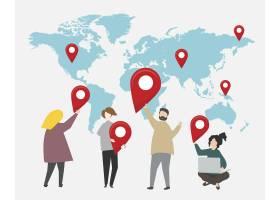 世界地图插图上的检查站_3415748