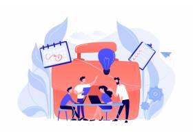 业务团队使用笔记本电脑和灯泡协同工作白_11667120