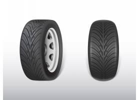 3D逼真的黑色轮胎闪亮的钢铁和橡胶车轮_3090531