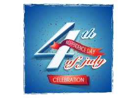 7月4日的文字在闪亮的蓝色背景上有红色的_1149211