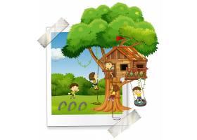 许多孩子在树屋里玩耍_3327575