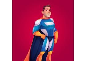 身穿蓝色服装披着斗篷的超级英雄_9292889