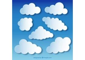 蓝天背景上蓬松的白云_764434