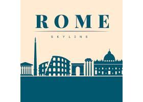 罗马平坦的蓝色天际线_1935085