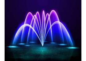 美丽多彩的黑夜舞动户外喷水喷泉背景设计逼_6831438