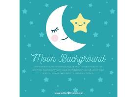 美丽的月亮和星星的背景_1087815
