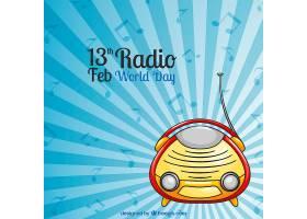 美妙的背景平面设计的收音机和音符_1025166
