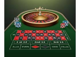 矢量逼真的赌场轮盘赌桌轮盘和隔离在绿色_11062536