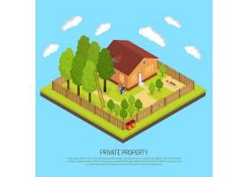 私有财产边界围栏等轴测插图_3796727
