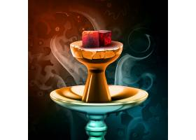 水烟热煤放在水砂碗上五颜六色的背景上有_11061216