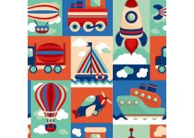 玩具运输卡通无缝图案与飞机浮空器帆船_1158432