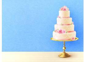 玫瑰婚礼蛋糕写实插图_3796459