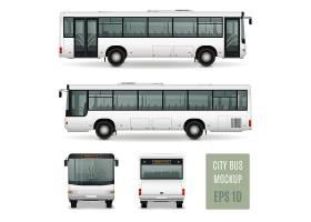 现代城市客车写实广告模板白底前后侧视孤立_4358637