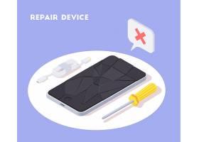 现代设备等距背景构图带破碎屏幕的智能手_6869962