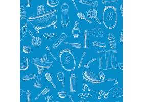 浴室主题设计为蓝色背景配以牙膏浴巾_10700202