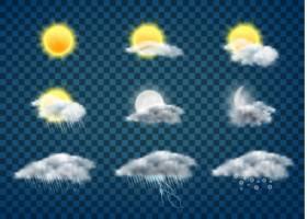 白天和黑夜天气预报应用程序的真实矢量图标_3823997